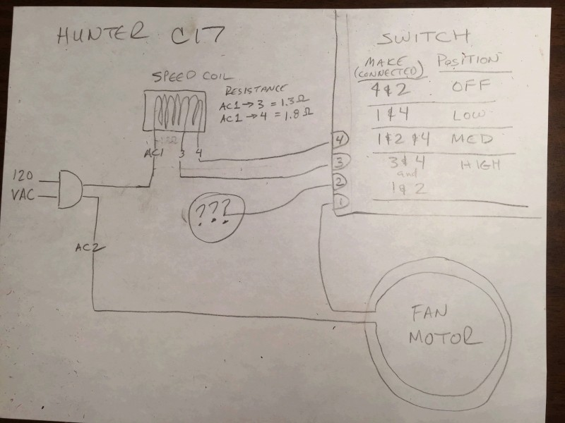 Wiring For A Hunter C17 Ceiling Fan