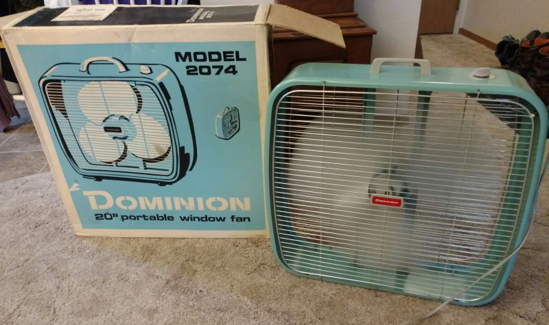 Massey Box Fan : Dominion box fan post vintage antique