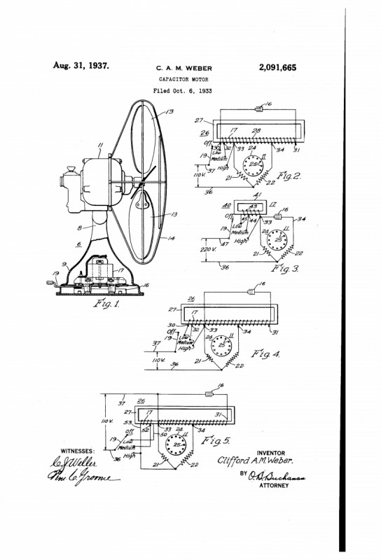 Westinghouse Capacitor Fan Motor Patent Filed In 33 - Pre-1950 ... on
